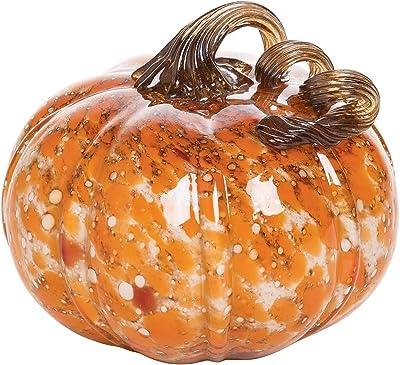 GALLERIE II Artglass Fall Pumpkin Large Halloween Fall Harvest Hard Figure Décor Decoration Orange