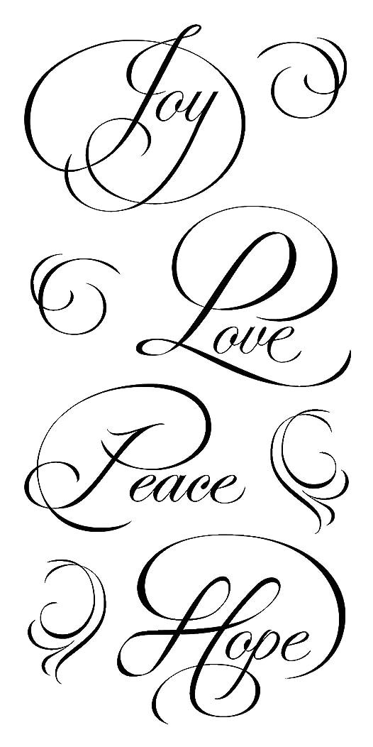 Inkadinkado Calligraphy Expressions 'Joy, Love, Peace, Hope' Clear Stamp Set, 8 pc