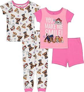 Paw Patrol girls Nickelodeon Girls' Paw Patrol 4-Piece Cotton Pajama Set Paw Patrol 4-Piece Cotton Pajama Set