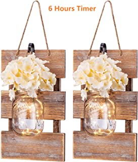 HAchoo Rustic Wall Sconces- Mason Jar Sconces Handmade Wall Art Hanging Design with 6 Hours Timer LED Fairy Lights and Warm White,Farmhouse Kitchen Wall Home Decor Living Room Lights Set of 2 Brown
