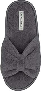 Laura Ashley Ladies Open Toe Spa Slippers with Bow and Memory Foam Insole, Grey, Large