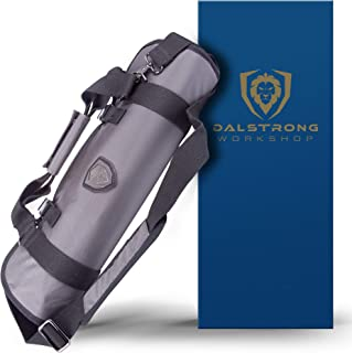 DALSTRONG - Ballistic Series Knife Roll - Premium Ballistic Nylon & Top Grain Leather Roll Bag - 22 Knife Slots - Interior and Rear Zippered Pockets - Blade Travel Storage/Case (Graphite Black)