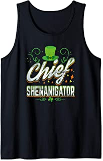 Retro Chief Shenanigator Lucky Leprechaun Hat St Patrick Day Tank Top