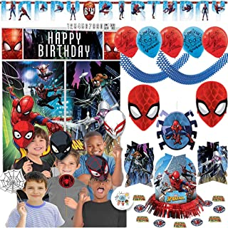 Spiderman Birthday Party Decoration Pack With Scene Setter, Photo Props, Hanging Honeycomb and Swirl Decorations, 6 Balloons, Table Decorating Kit, Add An Age Birthday Banner, Garland, Exclusive Pin