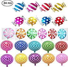24pcs Sweet Candy Balloons for Birthday Wedding Parties, Including 16pcs Round Lollipop Balloons and 8pcs Candy Lollipop Balloons Aluminum Balloons.