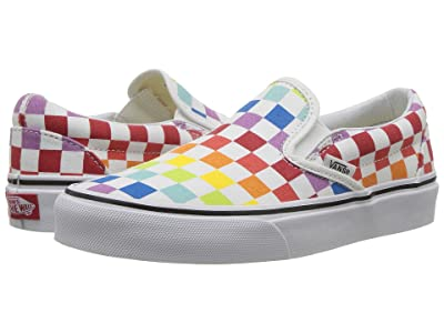 Vans Classic Slip-Ontm ((Checkerboard) Rainbow/True White) Skate Shoes