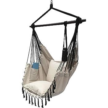 Bedroom Black Outdoor Yard Home Prime Garden Hammock Chair Hanging Rope Swing Seat With Hardware Kits Garden Patio Perfect For Indoor Deck Hammock Chairs Patio Lawn Garden