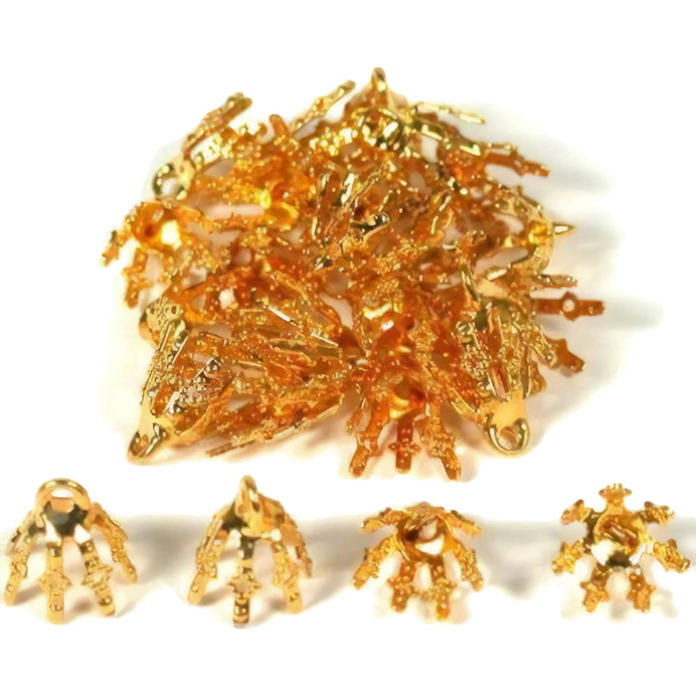 20 Bead Caps Gold Plated Necklace Chain Charm Bails