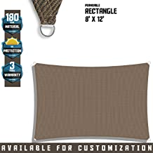 TANG 8' x 12' Sun Shade Sail Rectangle Permeable Canopy Brown Customize Size Available Commercial Standard 180 GSM HDPE