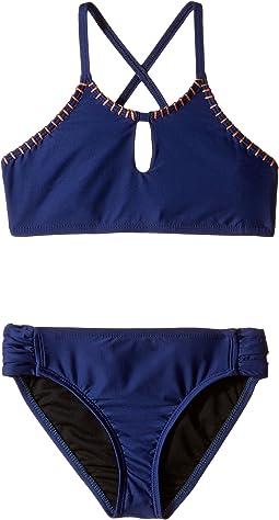 Chambray Cottage High Neck Bra & Tab Side Pants (Big Kids)