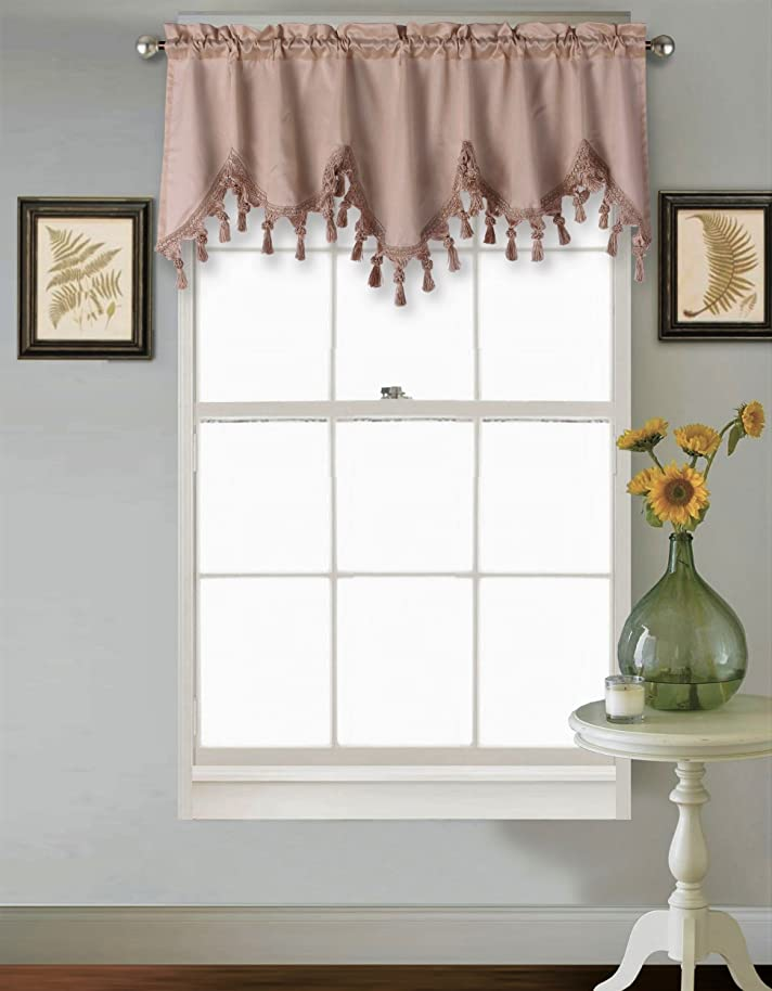 GorgeousHomeLinen (WAVE) 1 Taupe Elegant Faux Silk Rod Pocket Swag Waterfall Ascot Dressing Valance with Tassels, 55