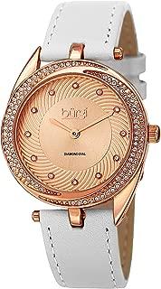 Burgi Diamond & Crystal Accented Women's Watch - 12 Diamond Hour Markers Swirl Design On Genuine Leather Strap - BUR122