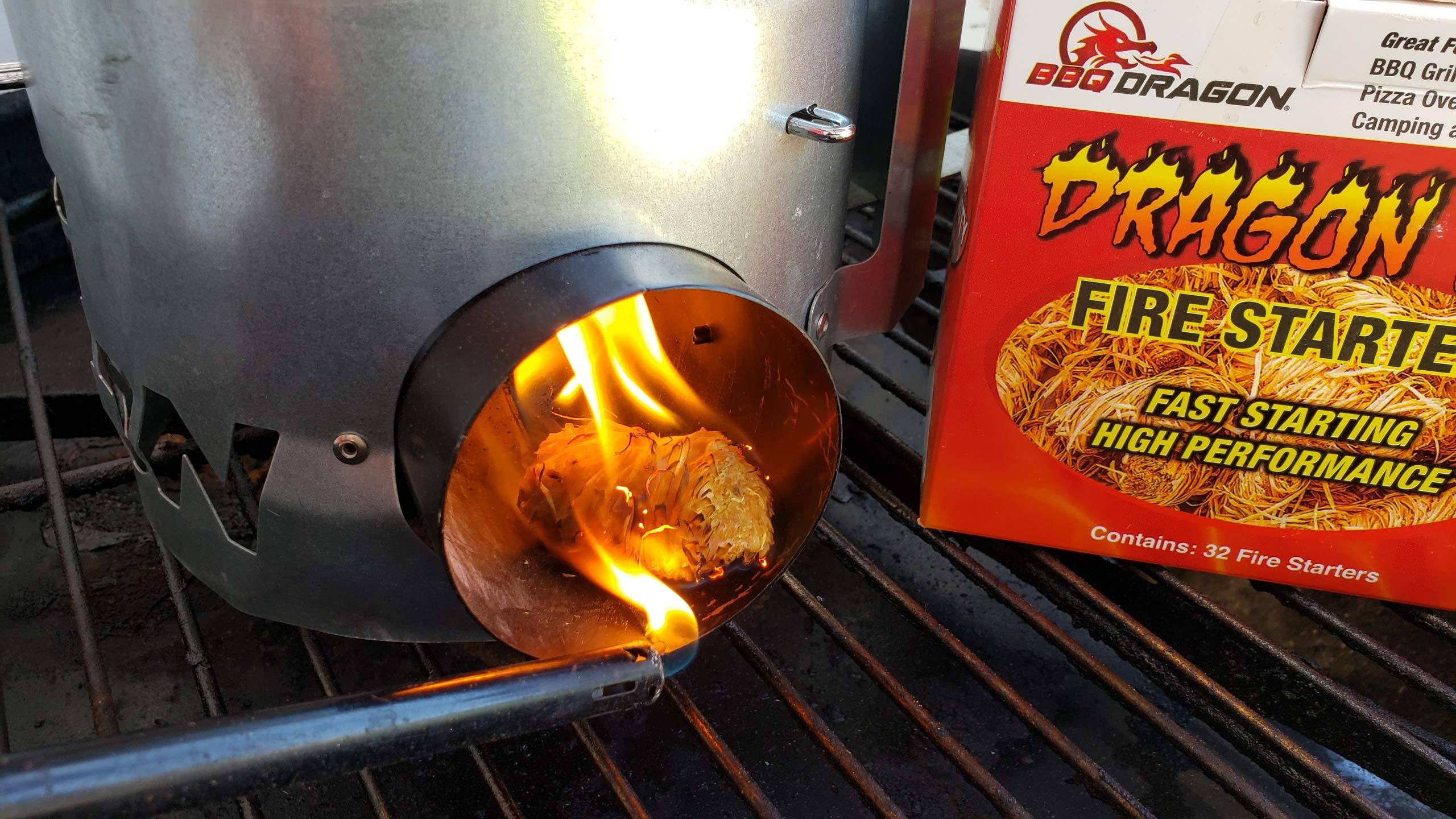 Arrancador de fuego de huevo de dragón para barbacoa – 32 piezas – Arrancador de carbón más rápido para parrilla de carbón, parrillas de Kamado, huevo verde, luces de mechero de parrilla