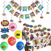 Superhero Party Supplies Sets, Superhero Tablecloth, Superhero Birthday Banner, 6 Superhero Hanging Swirls,10 Superhero Cake Toppers, 20 Superhero Balloons and Superhero Door Sign - Complete Superhero Decorations Kit