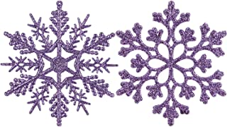 Sea Team Plastic Christmas Glitter Snowflake Ornaments Christmas Tree Decorations, 4-inch, Set of 36, Orchid