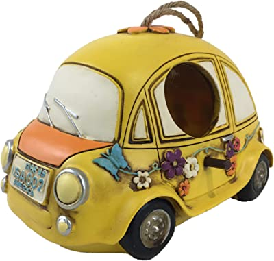 Hippie Flower Car Hanging Birdhouse (Yellow)