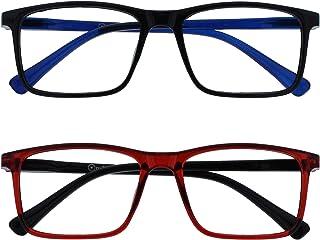 Opulize Ink 2 Stuks Leesbril Groot Zwart Donker Rood Mannen Vrouwen Scharnieren Met Veer RR4-1Z +1,00