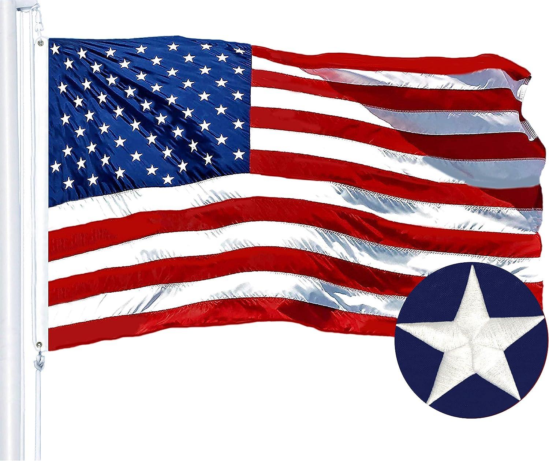 G128 - American Max 56% OFF USA US Flag Columbus Mall Strip Embroidered Sewn ft 6x10 Stars