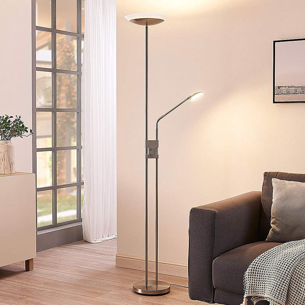 Lindby lampada led da terra `jonne`  in metallo 4251096546019