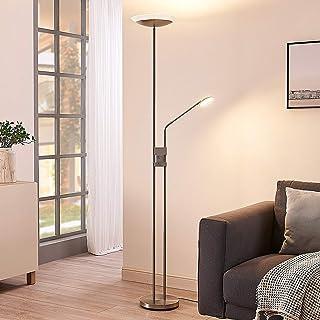 Lámpara de pie LED 'Jonne' (Moderno) en Gris hecho de Metal e.o. para Salón & Comedor (2 llamas, A+) de Lindby | lámpara LED de pie, lámpara de pie, lámpara de pie