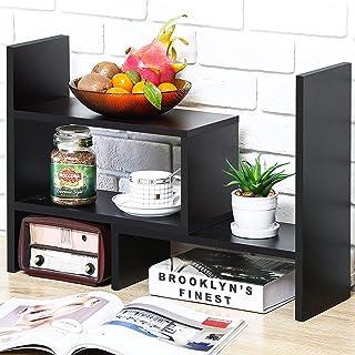 Best Desktop Bookshelf Desk Storage Organizer Adjustable Wood Desktop Display Shelf Rack Counter Office Storage Rack Top Bookcase - Free Style Display Natural Stand Office Supplies Desk Organizer, Black Review