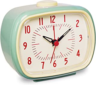 Slash Vintage Retro Old Fashioned Quiet Non-Ticking Sweep Second Hand, Quartz Analog Desk Clock, Battery Operated, Loud Alarm (Dark Sky Blue)