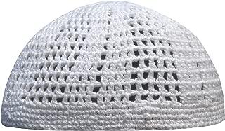 White Kufi Hat Tight & Loose Weave Mix Crocheted Comfortable Cotton Muslim Kufi Topi Skull Prayer Cap