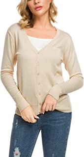 AKEWEI Women's Long Sleeve V-Neck Button Down Stretch Knit Cardigan Sweater (S-XL)