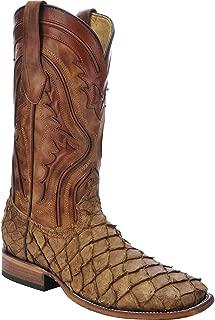 Men's Pirarucu Fish Cowboy Boot Wide Square Toe - C3042