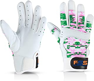 FullScope Sports Pro Super Grip Softball Baseball Batting Gloves for Boys Girls & Youth (Pink/Green/White Digital Camo) Youth Small (Ages 6-8 yrs Old)
