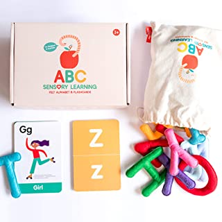 Curious Columbus Felt Alphabet and Flashcards. Set of 26 Handcrafted Uppercase Letters with Matching ABC Flash Cards. Teac...