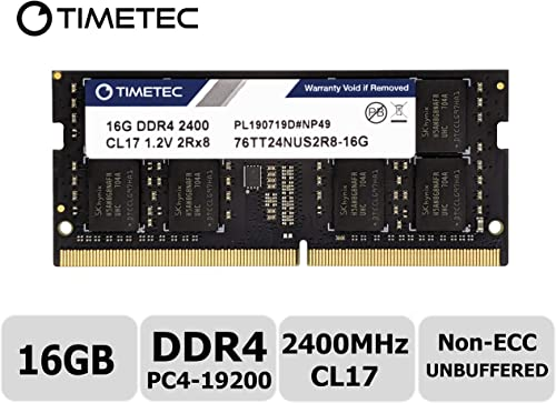 Timetec Hynix IC 16GB DDR4 2400MHz PC4-19200 Non ECC Unbuffered 1.2V CL17 2Rx8 Dual Rank 260 Pin SODIMM Laptop Notebo...