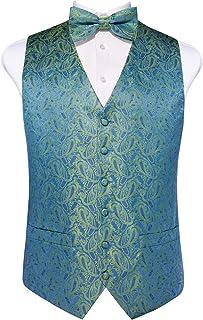 DiBanGu Mens Formal Wedding Paisley Waistcoat Bow Tie Pocket Square Cufflinks Set Jacquard Woven Suit Vest S-3XL