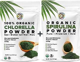 Earth Circle Organics | Organic Spirulina & Chlorella Powder, Kosher, Non-Irradiated | Pure Vegan Protein | Premium Superf...