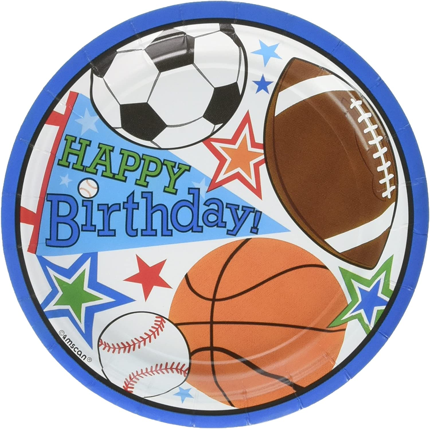 Sports Superstar Birthday Party Round Dessert Plates Pack of 8, Multi 7  Paper 144 Multicolor