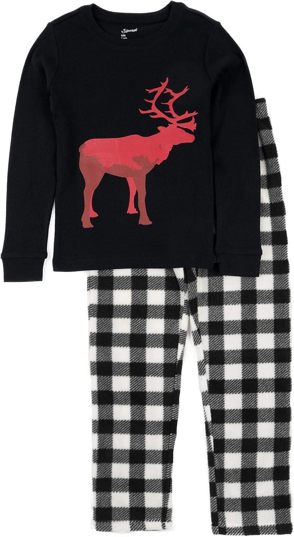 2-14 Years Leveret Kids /& Toddler Pajamas Boys Girls 2 Piece Pjs Set Cotton Top /& Fleece Pants Sleepwear