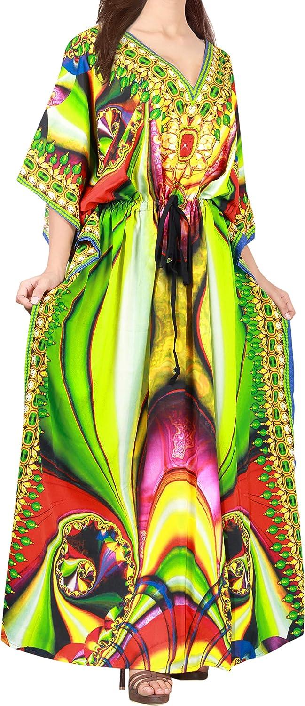 LA LEELA Women's One Size Caftan Wedding Dresses Sleepwear Cover Ups Drawstring