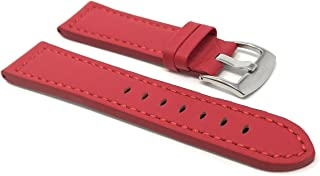 20mm - 22mm Universal Smartwatch Band Strap, Leather, Racer with Stitching