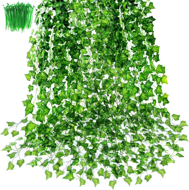 OrgMemory Hiedra artificial, hiedra falsa, paquete de 24 unidades, 2,2 m cada uno, 100 unidades de atadura), guirnaldas verdes colgantes para ...
