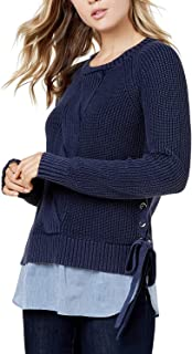 Tommy Hilfiger Women's Cotton Layered-Look Sweater Sky Captain Chambray Small