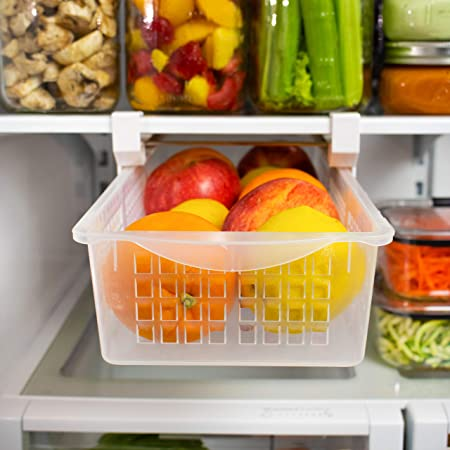 Fridge Organizer Drawer, Refrigerator Pull-Out Bin   Adjustable, Installs Under Shelf   Fits Most Fridges, Clear Plastic   BPA Free