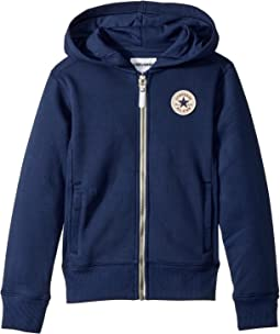 Converse Kids Rib Panel Zip Hoodie (Big Kids)