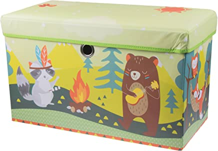 Clever Creations Cute Animal Camping Collapsible Storage Organizer Storage Ottoman for Bedroom and Living Room