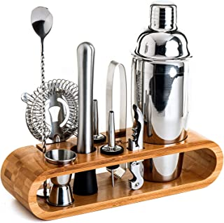 Upgraded Bartender Kit: 10-Piece Bar Tool Set with Stylish Bamboo Stand | Perfect Home Bartending Kit and Martini Cocktail...