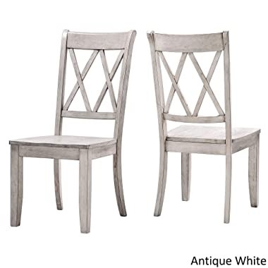 Inspire Q Eleanor Double X Back Wood Dining Chair (Set of 2) by Classic Dining Chairs Antique White Wood
