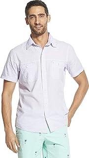 IZOD Men's Saltwater Dockside Chambray Solid Short Sleeve Shirt