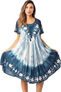 b64a660fe4 Riviera Sun Tie Dye Summer Dress with Raglan Eyelet Sleeve   Embroidery