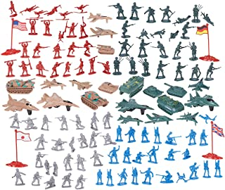 Juvale 124 Military Figures and Accessories - Toy Army Soldiers in 4 Colors, World War II Playset with 4 Flags, Planes, and Tanks