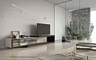 People: Modern Wall Unit/TV Base with C-Shaped Element. Equipped for Wire Management.