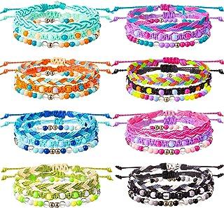 دستبندهای VSCO دستبند دوستی کشش دوستی دستبند رشته ای بافته مهره قابل انعطاف دستبند طناب موج قابل تنظیم جواهرات دوستی برای دختران VSCO دختران نوجوان